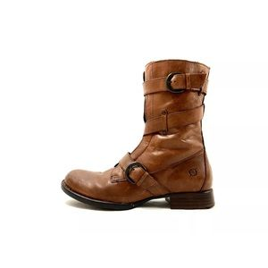 Born Womens Brown Leather Round Toe Buckle Boots
